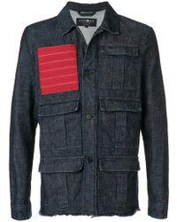 Hydrogen - Red Patch Multipocket Denim Jacket - Lyst