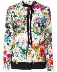 Gucci - Flora Snake Print Blouse - Lyst