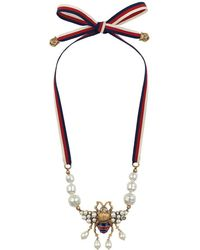 Gucci - Bee Necklace With Crystals And Pearls - Lyst
