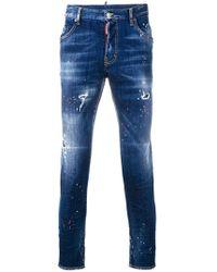 DSquared² - Paint Splattered Slim Jeans - Lyst