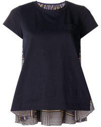 Sacai - Plaid Back Panel T-shirt - Lyst