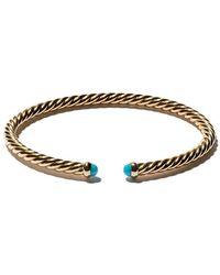 David Yurman - 18kt Yellow Gold Cable Spira Turquoise Cuff Bracelet - Lyst