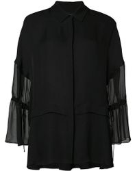 Sally Lapointe - Gathered Sheer Sleeves Shirt - Lyst