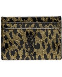 Saint Laurent - Metallic Leopard-print Leather Cardholder - Lyst
