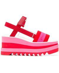 Stella McCartney - Wedge Logo Sandals - Lyst