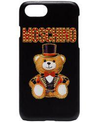 Moschino Coque pour iPhone 8 à logo - Noir