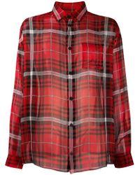 424 - Plaid Silk Chiffon Oversized Shirt - Lyst