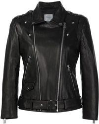 Anine Bing - Cropped Lambskin Moto Jacket - Lyst