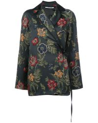 Rosetta Getty - Floral Embroidered Wrap Blazer - Lyst