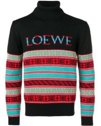 Loewe - Patterned Stripes Roll Neck Sweater - Lyst
