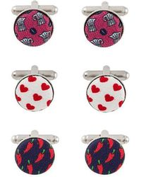 Fefe - Pack Of Three Patterned Cufflinks - Lyst