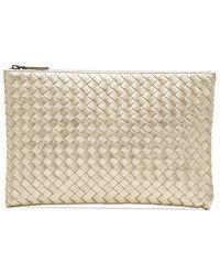 0146fa6accbe Bottega Veneta - Metallic Intrecciato Woven Leather Clutch - Lyst