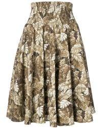 Julien David - Leaf Print Skirt - Lyst