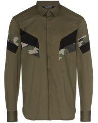 Neil Barrett - Green Camouflage Panelled Cotton Blend Shirt - Lyst