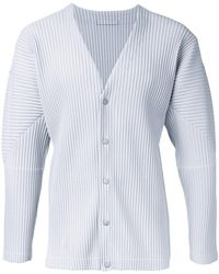 Homme Plissé Issey Miyake - Pleated Button Fastening Cardigan - Lyst