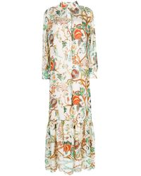 Alberta Ferretti - Floral Print Shirt Dress - Lyst