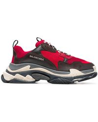 Balenciaga - Black And Red Triple S Sneakers - Lyst