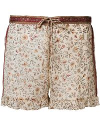 Mes Demoiselles - Floral Print Shorts With Frill Trim - Lyst