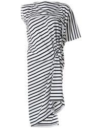 Junya Watanabe - Gestreiftes Kleid mit asymmetrischem Schnitt - Lyst