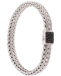 John Hardy - Silver Classic Chain Flat Chain Bracelet With Black Sapphire Clasp - Lyst