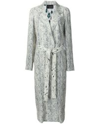 Calvin Klein - Printed Belted Mid-length Coat - Lyst