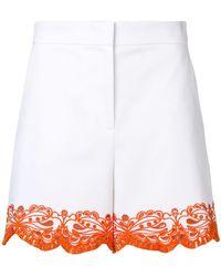 7c57bc647e51 Emilio Pucci - White Sangallo Embroidered Shorts - Lyst