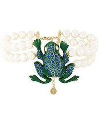 Tory Burch - Frog Pendant Pearl Necklace - Lyst