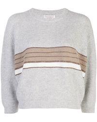 Brunello Cucinelli - Knitted Striped Jumper - Lyst
