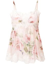 Dolce & Gabbana - Lace Trim Trim Floral Camisole - Lyst