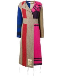 Marni - Contrast Panel Unfinished Long Coat - Lyst