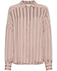 Esteban Cortazar - Striped Satin Shirt - Lyst