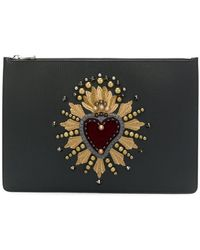 Dolce & Gabbana - Document Holder With Heart Patch Clutch - Lyst