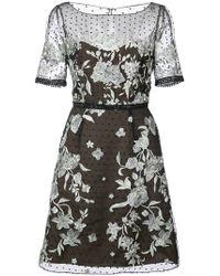 Marchesa notte - Floral Appliqué Mini Dress - Lyst