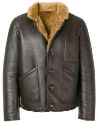 YMC - Shearling Leather Jacket - Lyst