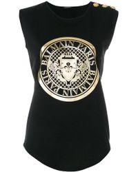bbcd9cd493 Balmain Logo Print Cotton T-shirt in Blue - Save 4.060913705583758 ...
