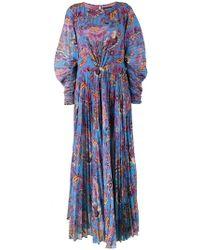 Etro - Vestido largo plisado con motivo floral - Lyst