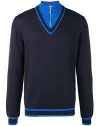 Dirk Bikkembergs - Panelled Quarter Zip Sweater - Lyst