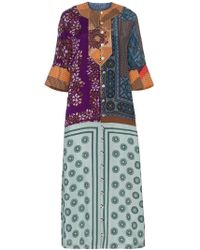 Rianna + Nina - Multi-print And Patchwork Silk Kaftan - Lyst