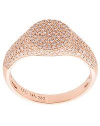 EF Collection - Anello Da Migolo Modello Sigillo Con Diamanti - Lyst