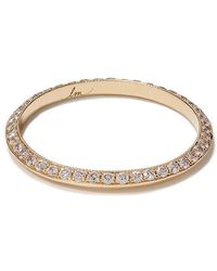 Lizzie Mandler - 18kt Yellow Gold Diamond Pave Petit Knife Edge Band - Lyst