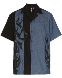 Liam Hodges - Fire Ball Two-tone Short-sleeved Cotton Shirt - Lyst
