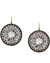Andrea Fohrman - 18kt Yellow Gold, Rock Crystal And Grey Sapphire Drop Earrings - Lyst