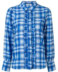 Ganni - Checked Ruffle Blouse - Lyst