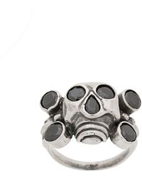 KTZ Rhinestone Embellished Skull Ring - Metallic