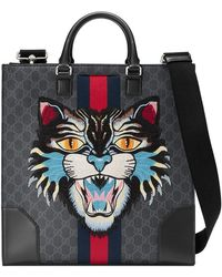 Gucci - Gg Supreme Tote With Embroidered Angry Cat - Lyst