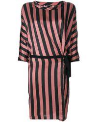 Ann Demeulemeester - Striped Wrap Detail Dress - Lyst