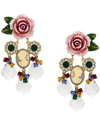 Dolce & Gabbana - Rose And Crystal Earrings - Lyst