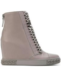Casadei - Chain-trimmed Wedge Sneakers - Lyst
