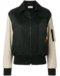 Saint Laurent - Embroidered Bomber Jacket - Lyst