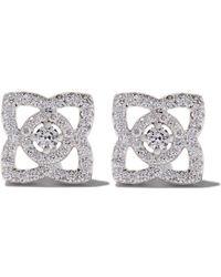 De Beers - 18kt White Gold Enchanted Lotus Diamond Stud Earrings - Lyst